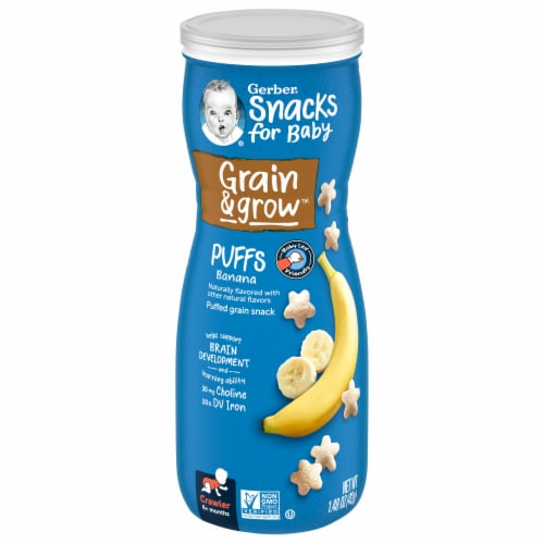 Gerber Crawler Banana Puffs Cereal Snack Perspective: front