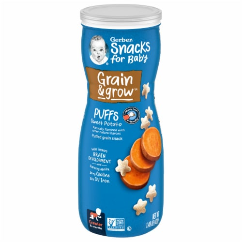 Gerber Crawler Puffs Sweet Potato Cereal Snack Perspective: front