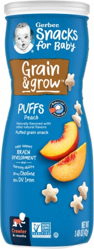 Gerber Crawler Puffs Peach Cereal Snack Perspective: front