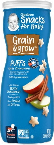 Gerber Crawler Puffs Apple Cinnamon Cereal Snack Perspective: front