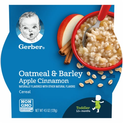 Gerber Oatmeal & Barley Apple Cinnamon Toddler Cereal Perspective: front