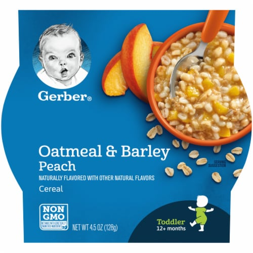 Gerber Peach Oatmeal & Barley Toddler Cereal Perspective: front