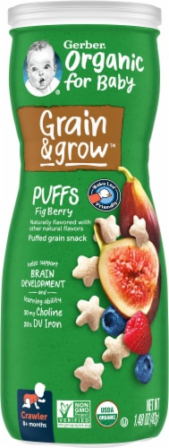 Gerber Crawler Organic Puffs Fig Berry Grain Snack Perspective: front