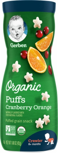 Gerber Organic Puffs Cranberry Orange Grain Snack Perspective: front
