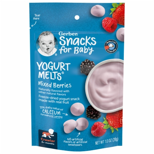 Gerber Crawler Yogurt Melts Mixed Berries Freeze-Dried Yogurt Snack Perspective: front