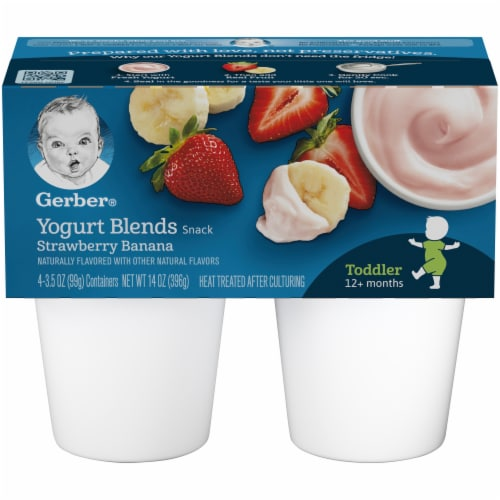 Gerber Toddler Strawberry Banana Yogurt Blends Snack Cups Perspective: front