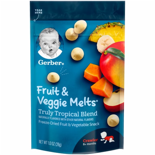 Gerber Crawler Fruit & Veggie Melts Truly Tropical Blend Freeze-Dried Snack Perspective: front