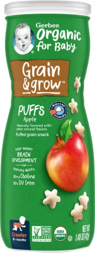Gerber Organic Puffs Apple Puffed Grain Snack Perspective: front