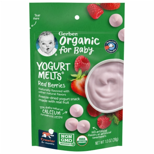 Gerber Organic Red Berries Yogurt Melts Snack Perspective: front