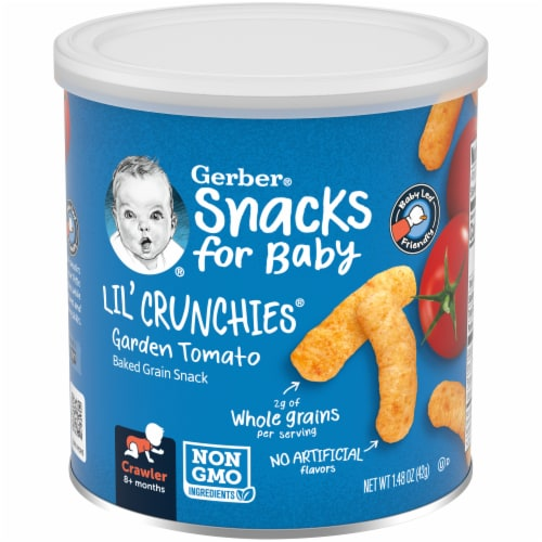 Gerber Crawler Lil' Crunchies Garden Tomato Baked Corn Baby Food Snack Perspective: front