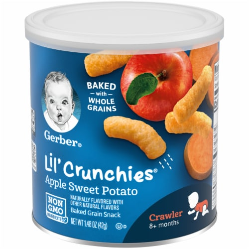 Gerber Crawler Lil' Crunchies Apple Sweet Potato Baked Corn Snack Perspective: front