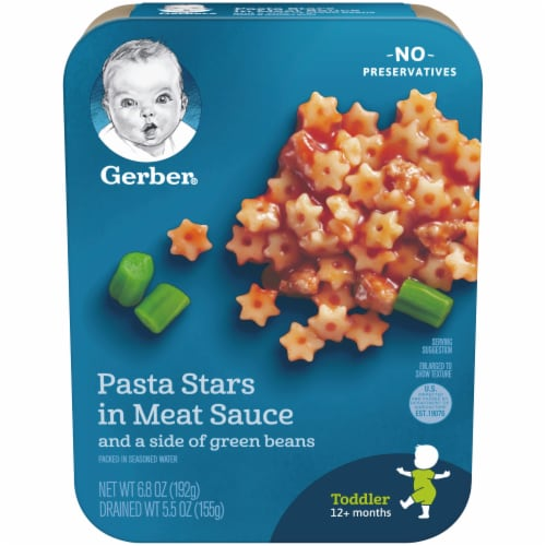 Gerber Pasta Stars in Meat Sauce and Green Beans Toddler Lil' Entree Perspective: front