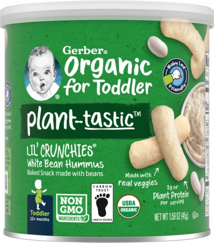 Gerber Organic Lil' Crunchies Toddler White Bean Hummus Baked Snack Perspective: front