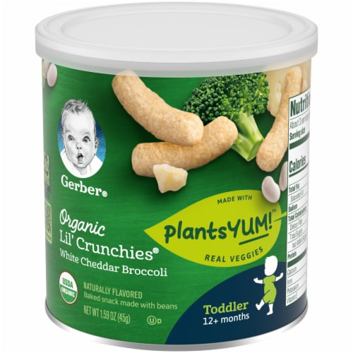 Gerber Organic Lil' Crunchies White Cheddar Broccoli Baked Toddler Snack Perspective: front