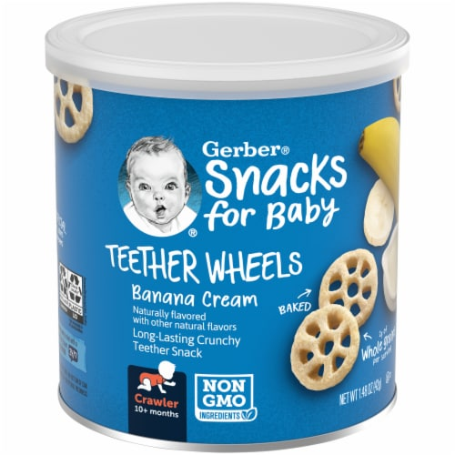 Gerber® Snack for Baby Banana Cream Teether Wheels Perspective: front