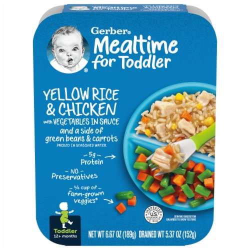 Gerber Yellow Rice & Chicken with Vegetables in Sauce Toddler Meal Perspective: front