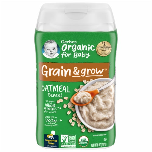 Gerber Organic 1st Foods Oatmeal Single Grain Cereal Perspective: front