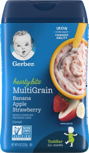 Gerber® Hearty Bits Toddler Multigrain Banana Apple Strawberry Cereal Perspective: front