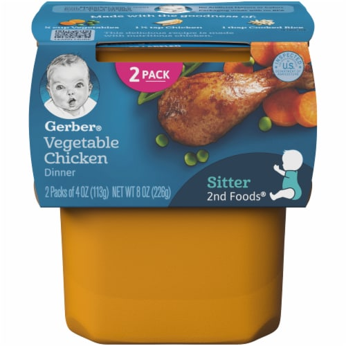 Gerber 2nd Foods Vegetable Chicken Dinner Stage 2 Baby Food Perspective: front