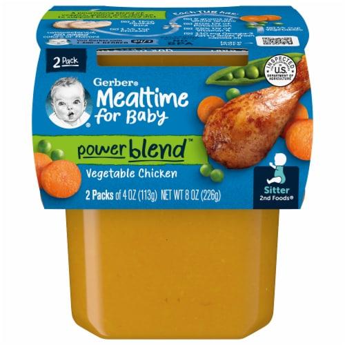 Gerber 2nd Foods Vegetable Chicken Dinner Stage 2 Baby Food Perspective: front