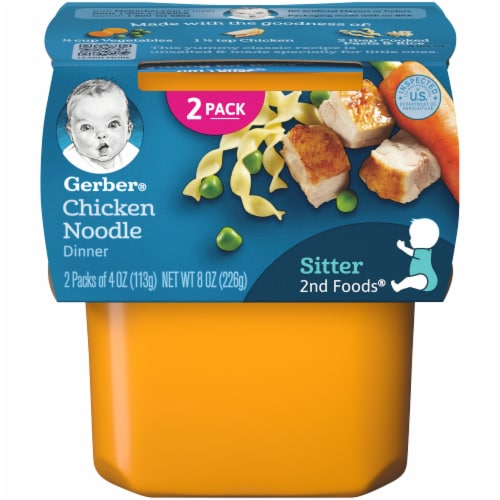 Gerber Chicken Noodle 2nd Foods Dinner Stage 2 Baby Food Perspective: front