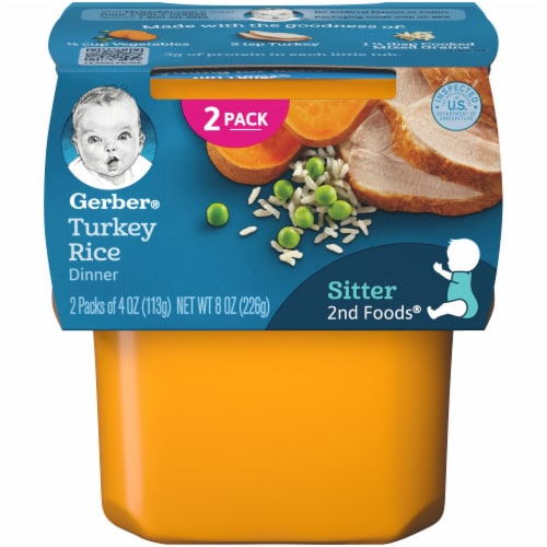 Gerber 2nd Foods Turkey Rice Dinner Stage 2 Baby Food Perspective: front