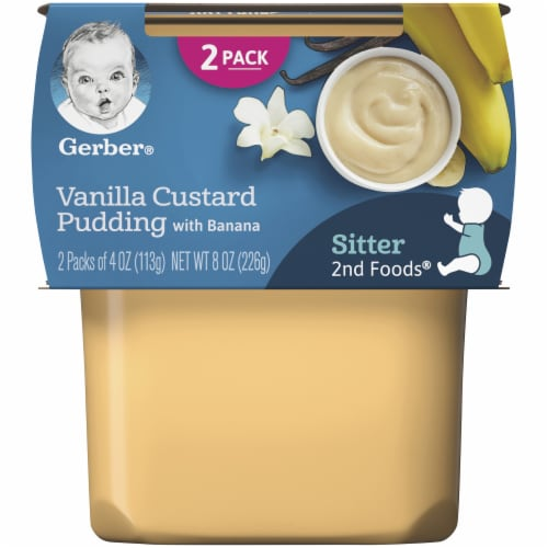 Gerber 2nd Foods Vanilla Custard Pudding with Banana Baby Food Perspective: front