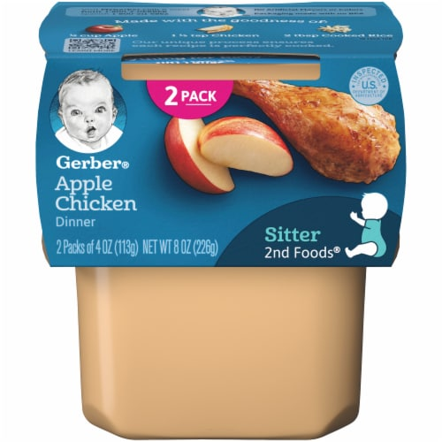 Gerber 2nd Foods Apple Chicken Dinner Stage 2 Baby Food Perspective: front