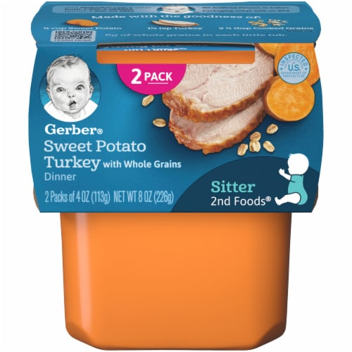 Gerber 2nd Foods Sweet Potato Turkey with Whole Grains Dinner Baby Food Perspective: front