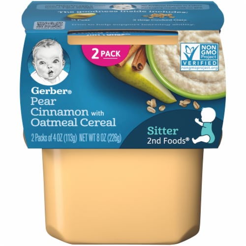 Gerber 2nd Foods Pear Cinnamon with Oatmeal Cereal Stage 2 Baby Food Perspective: front
