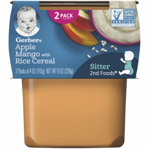 Gerber Apple Mango with Rice Cereal Stage 2 Baby Food Perspective: front