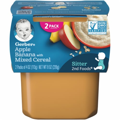 Gerber 2nd Foods Apple & Banana with Mixed Cereal Baby Food Perspective: front