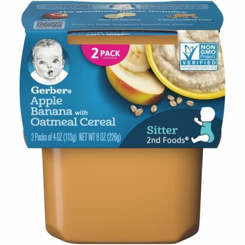 Gerber 2nd Foods Apple Banana with Oatmeal Cereal Stage 2 Baby Food Perspective: front