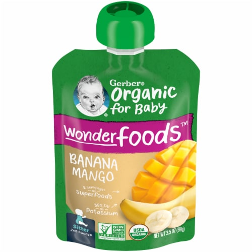 Gerber Organic Sitter Banana Mango Pouch Perspective: front