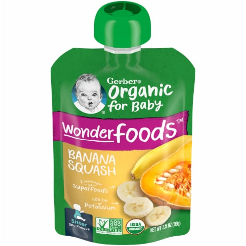 Gerber Organic 2nd Foods Banana Squash Stage 2 Baby Food Perspective: front