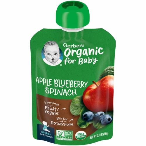 Gerber Organic 2nd Foods Apple Blueberry & Spinach Baby Food Perspective: front