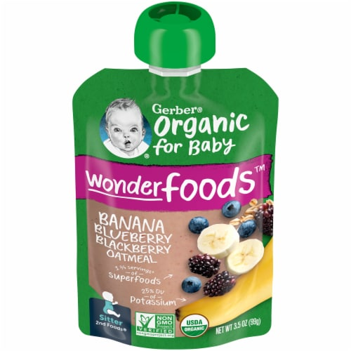 Gerber® Organic Banana Blueberry Blackberry & Oatmeal Pouch Perspective: front