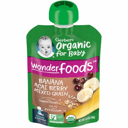 Gerber Organic 2nd Foods Banana Acai Berry Mixed Grain Baby Food Perspective: front