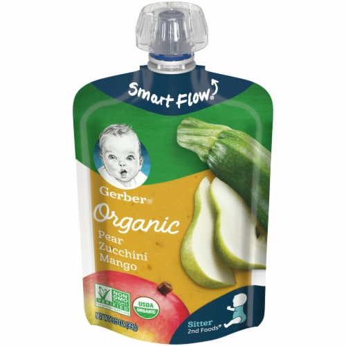 Gerber Organic 2nd Foods Pear Zucchini & Mango Stage 2 Baby Food Perspective: front