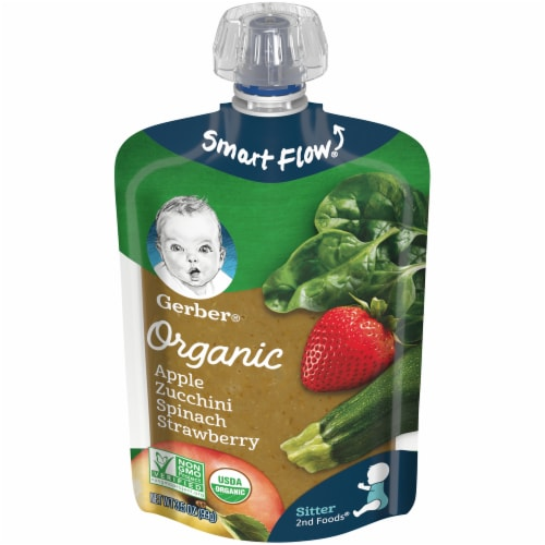 Gerber Organic Apple Zucchini Spinach & Strawberry Pouch Perspective: front