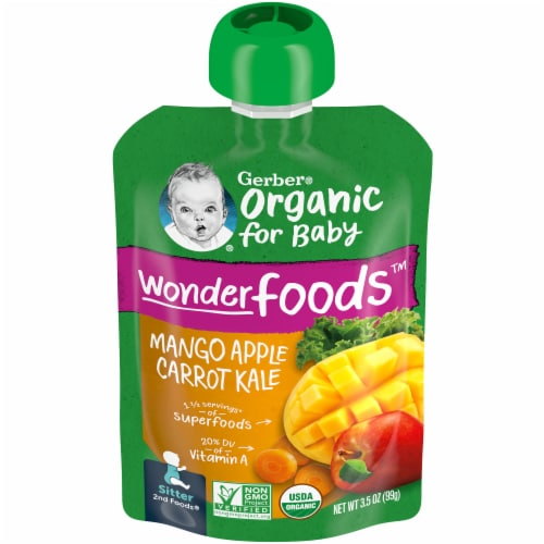 Gerber Organic Mango Apple Carrot Kale Puree Stage 2 Baby Food Perspective: front