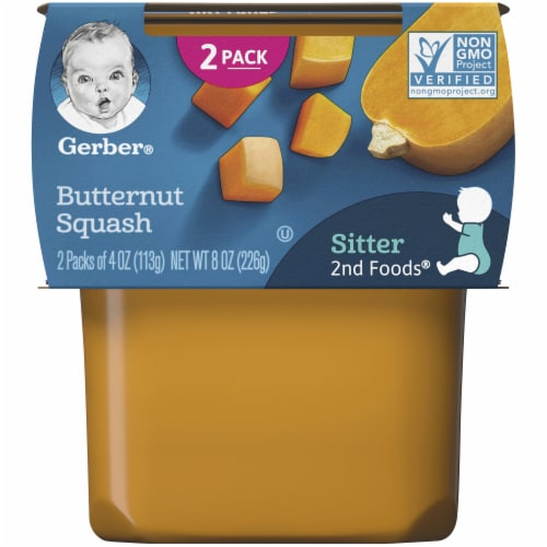 Gerber 2nd Foods Butternut Squash Stage 2 Baby Food Perspective: front