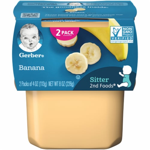 Gerber Banana Stage 2 Baby Food 2 Count Perspective: front