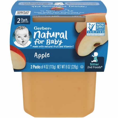 Gerber Apple Stage 2 Baby Food 2 Count Perspective: front