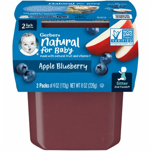 Gerber 2nd Foods Apple Blueberry Stage 2 Baby Food Perspective: front