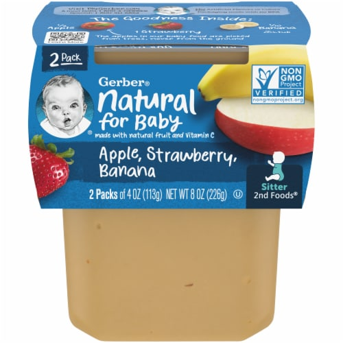 Gerber 2nd Foods Apple Strawberry Banana Stage 2 Sitter Baby Food Perspective: front