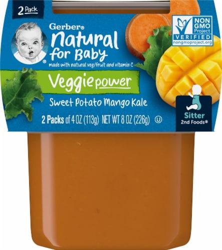 Gerber 2nd Foods Sweet Potato Mango & Kale Baby Food Perspective: front