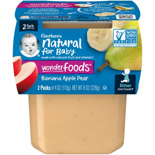 Gerber 2nd Foods Banana Apple & Pear Stage 2 Baby Food Perspective: front