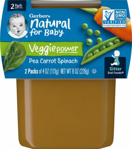 Gerber 2nd Foods Pea Carrot & Spinach Stage 2 Baby Food Perspective: front