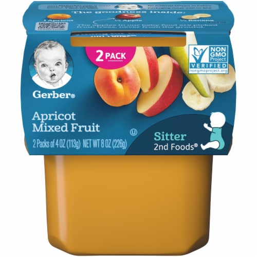 Gerber 2nd Foods Apricot Mixed Fruit Baby Food Perspective: front
